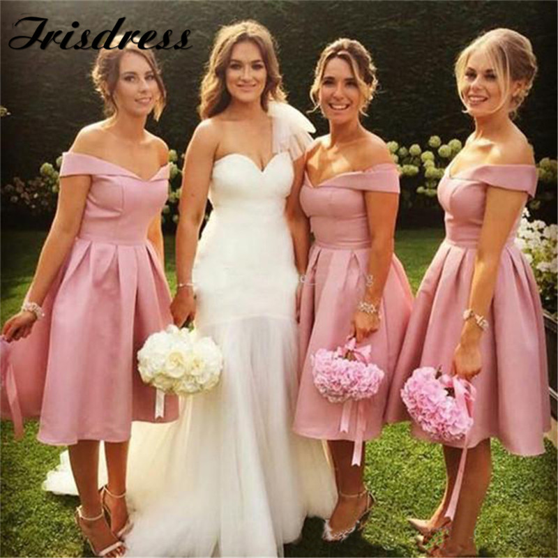 Light Pink Bridesmaid Dresses 2019 Sexy Knee Length Satin Wedding Guest Dress Prom For Women Plus Size Red Vestido Madrinha