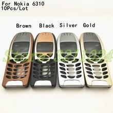 10 pièces nouveau pour Nokia 6310i housse boîtier 6310 batterie porte cadre moyen avant lunette remplacer pièce (pas de clavier clavier) Logo
