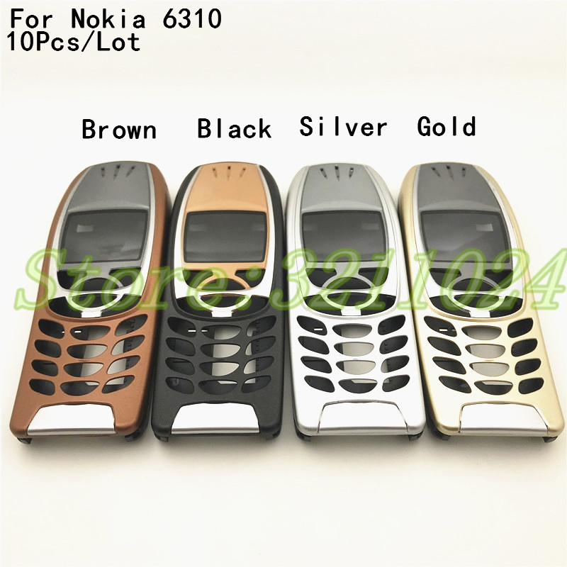 10Pcs New For <font><b>Nokia</b></font> 6310i Cover Case Housing <font><b>6310</b></font> Battery Door Middle Frame Front Bezel Replace Part (NO Keyboard Keypad) + Logo image