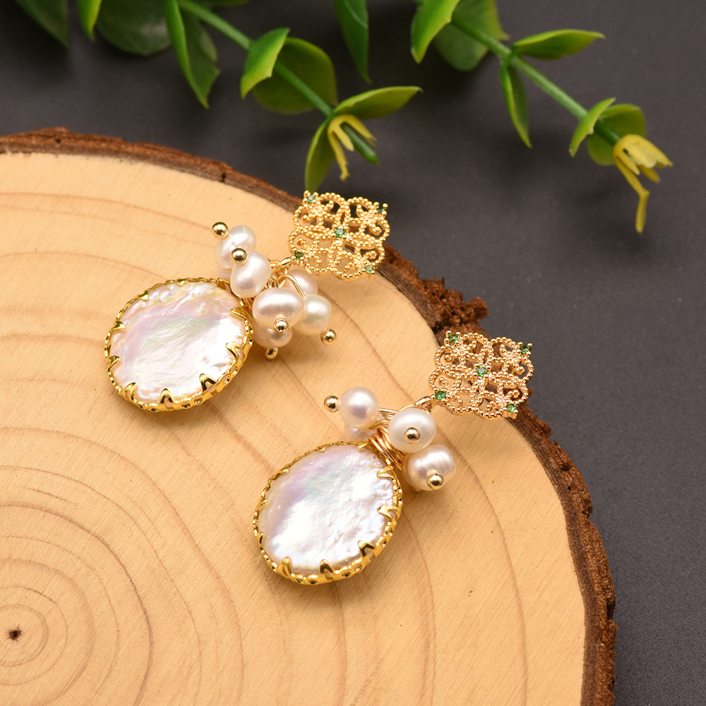 H032d33ef428643518bcbe885edcdf3de6 - GLSEEVO Natural Fresh Water Baroque Pearl Earrings For Women Plant Leaves Dangle Earrings Luxury Handmade Fine Jewelry GE0308
