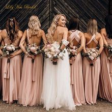 Dusty Pink Convertible Bridesmaid Dress Multi Styles Custom Made Spandex Long Formal Maid of Honor Gowns High Quality