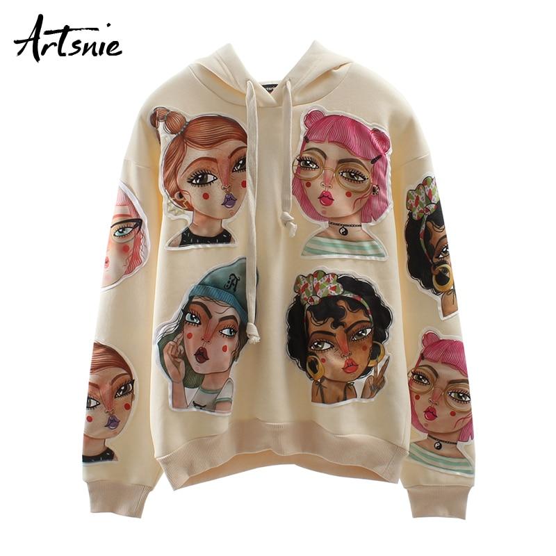 Artsnie Streetwear Cartoon Women Sweatshirts Autumn 2019 Long Sleeve Oversized Hoodies Winter Casual Knitted Sweatshirts Mujer