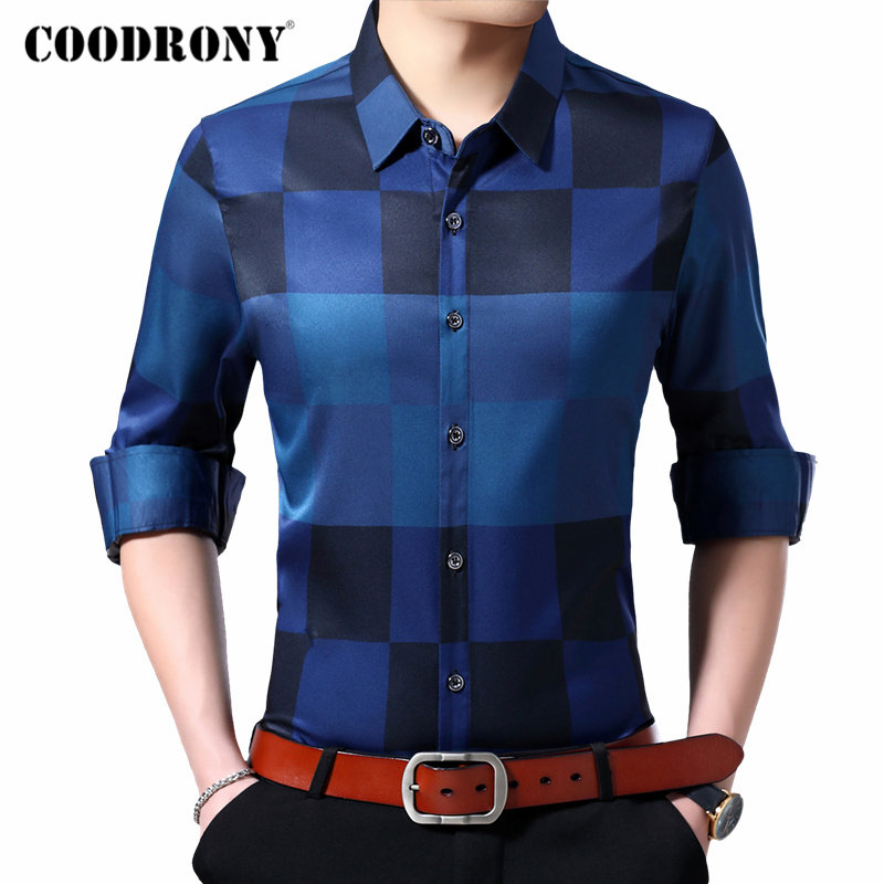 COODRONY Brand Men Shirt Fashion Plaid Business Casual Shirts Autumn Winter Long Sleeve Shirt Men Clothes Camisa Masculina 96086