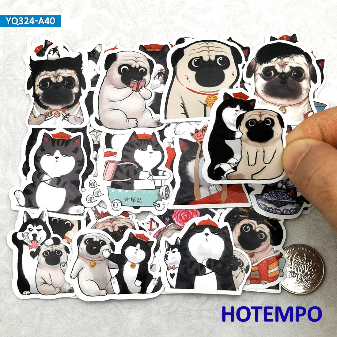 40pcs Cute Cat Emperor Dog Lord Cosplay Anime Diary Stickers for Stationery Scrapbook Mobile Phone Laptop Cartoon Decal Stickers
