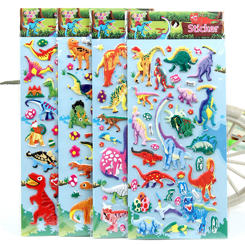 4pieces 3D Dinosaur Anime Stickers Toys For Children Kids Laptop Friends Tv Show Animals Boy Girl Sticker Pack Tyrannosaurus Rex