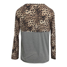 38# Women's Blouse Casual Simple Fashion 2020 Women Leopard Stripes Stitching Tops Round Neck Front Pocket Tunic Shirts Blouse
