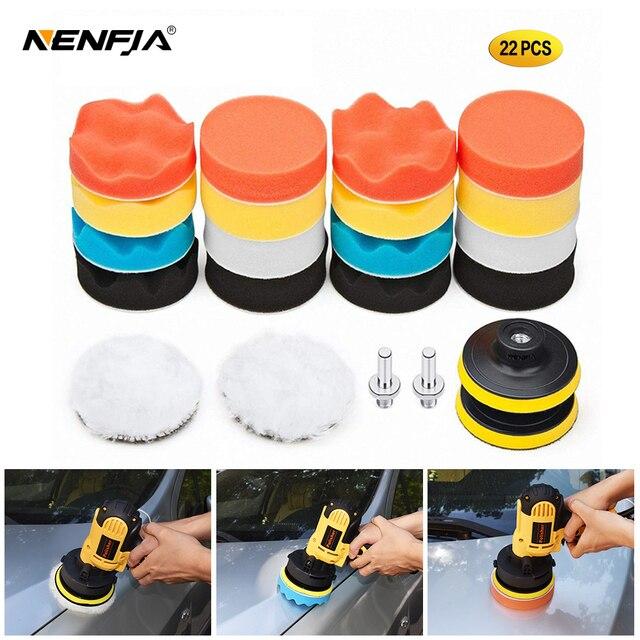22Pcs Buffing Pad Set Thread 3/4/5/6/ inch Auto Car Polishing pad Kit for Car Polisher + Drill Adaptor M10 M14 Power Tools
