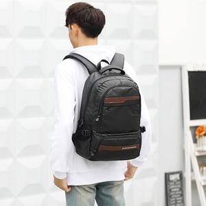 Image 2 - ヴィンテージ男性のバックパック大ナイロン旅行のラップトップバッグ十代の学校のバックパック男性パッチワーク通学mochila黒XA129C