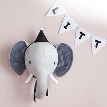 Голова Животного настенная плюшевая кукла Фламинго слон настенное крепление Мягкие плюшевые игрушки для детей украшения спальни настенные куклы реквизит для фотосессии