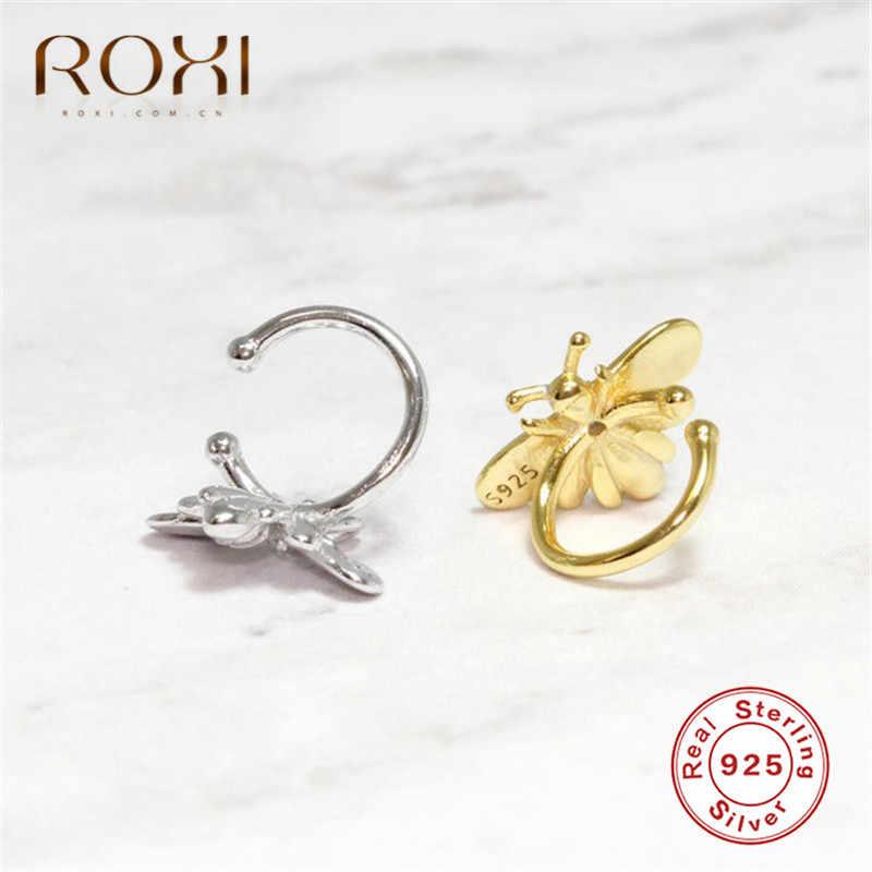 ROXI น่ารัก Bee Ear Cuff Clip ต่างหูโดยไม่ต้องเจาะเกาหลีน้ำผึ้ง Bee Earcuff เจาะไม่เจาะเงินแท้ 925 เครื่องประดับ