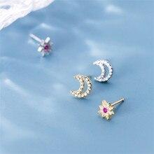 OBEAR Micro Inlaid Zircon Earrings Small  Sweet Stars Moon Asymmetric Simple Earrings For Women a suit of sweet asymmetric bar cross earrings for women