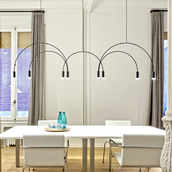 Işıklar ve Aydınlatma'ten Kolye ışıkları'de Iskandinav Modern hattı kolye ışıkları tasarımcı yemek odası yatak odası başucu restoran kemerli oturma odası halka asılı lambaları fikstür title=