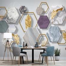 Настенные обои на заказ, современный минималистичный каменный узор, трехмерный геометрический Золотой лист, фон для телевизора, настенная ...