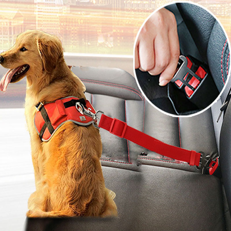 Seggiolino auto per cani cintura di sicurezza per cani cintura di sicurezza guinzaglio regolabile Clip da viaggio Cat Dog cintura di sicurezza per auto per tutte le auto cintura di sicurezza per cani 1