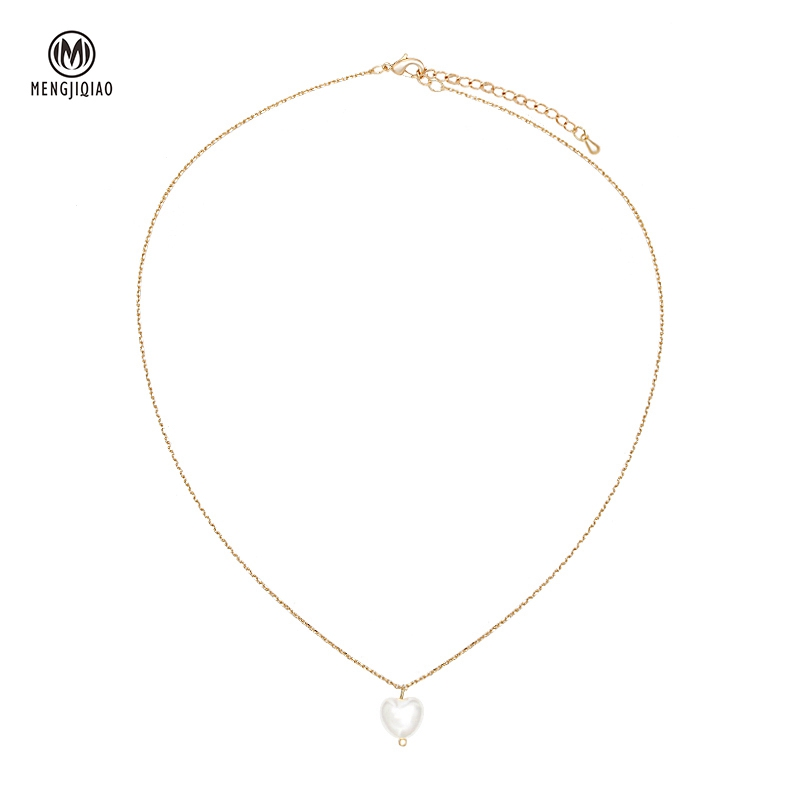 MENGJIQIAO 2020 Sweet Girls Elegant Pearl Heart Pearl Necklace For Women Students Fashion Party Choker Jewelry Gifts