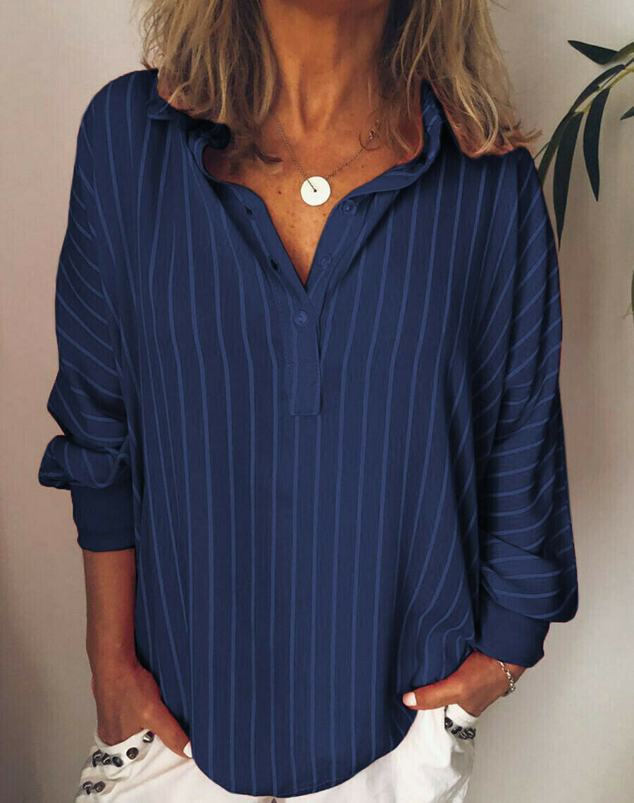 Autumn Large Size Women's Casual Striped V Neck Blouse Loose Baggy Tops Tunic  Plus Size Stripe Blouses Tops Costume