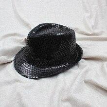 Модная джазовая шляпа с блестками, Детская шляпа унисекс, блестящая шляпа с пайетками, для танцевального шоу, вечерние, для свадьбы, джазовая шляпа, летняя однотонная шляпа