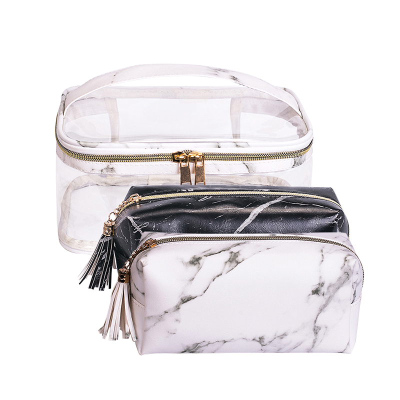 Marble PVC Cosmetic Bag Transparent Women's Makeup Box Beauty Vanity Case Clear Wash Pouch Toiletry Organizer Travel Accessories
