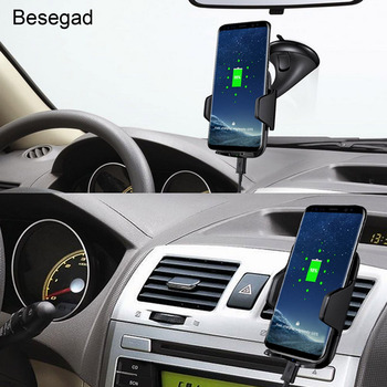 Besegad QI Wireless Phone Car Charger Charging Mount Pad For Samsung S6 S7 Edge Plus S8 Note 7 8 Note7 Note8 iPhone 8 Plus X 10