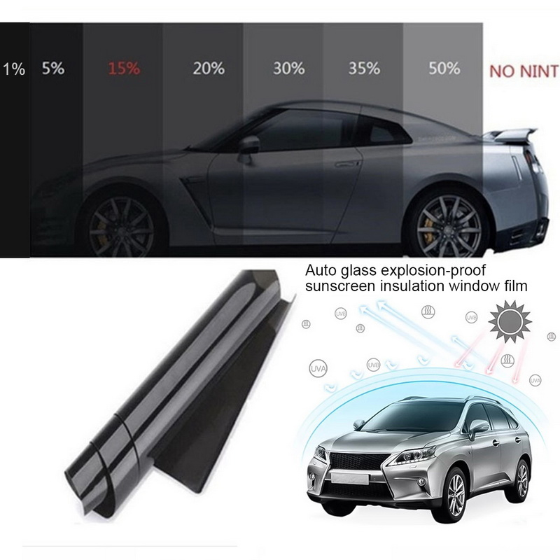 Negro Auto coche ventana edificio de cristal tintado rollo de película de la ventana Solar protección UV etiqueta cortina más tamaño