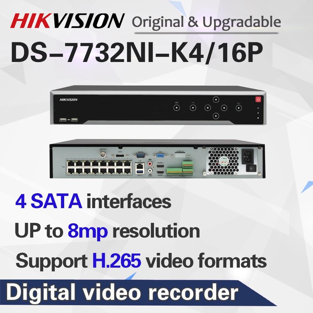 Hikvision оригинальный DS-7732NI-K4/16 P 32CH NVR 16CH POE 8MP разрешение 4SATA