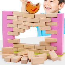 Baby toy Wooden blocks Wall Game Colorful Demolishing Wall Game Building Blocks Interesting Kids Toy Educational Toys for gift