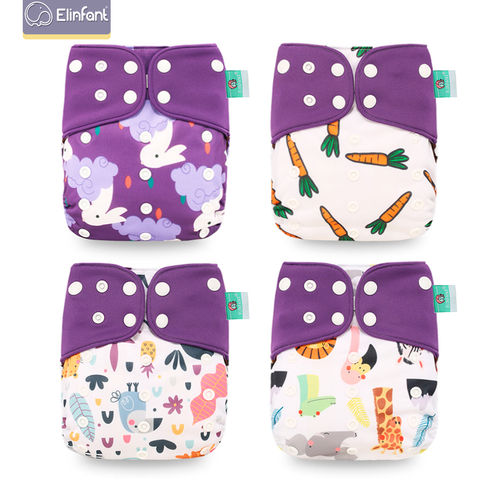 Elinfant Wholesale 4pcs/set Washable Baby Nappies Coffee  Cloth Diaper Cover Adjustable & Reusable Pocket Diapers Free Shipping