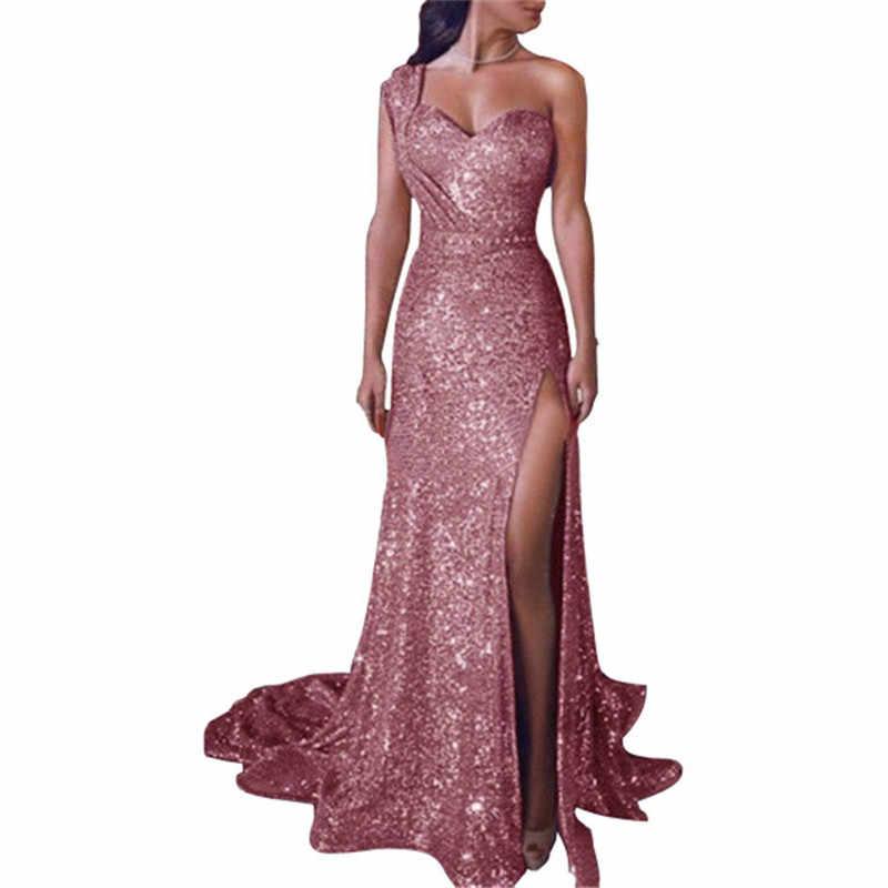 Платье S-5XL גדול גודל ערב מסיבת שמלת חולצת סטרפלס רצפת שמלת נשים בגדי סט מלא ארוך שמלת נצנצים אחת כתף נצנצים