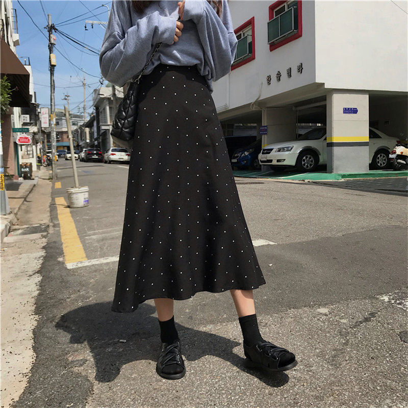 Alien Kitty Retro Black Polka Dots Elegant Mermaid Autumn Vintage Sweet Women High Waist All Match A-Line Large Size Long Skirts