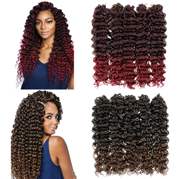 18 inch Long Deep Wave Ombre Twist hair Crochet braids Synthetic Braiding Hair Curl Extensions For Black Women go curly - discount item  48% OFF Synthetic Hair