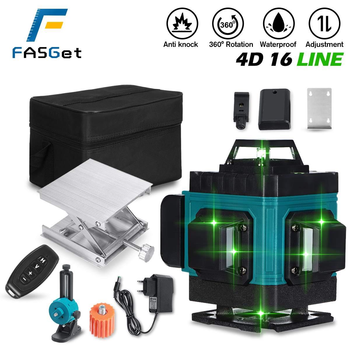 FASGet 16 Линии лазерный уровень с лазером зеленого цвета линии 4D самовыравнивающийся 360 горизонтальной линии грузило, высокое качество измере...