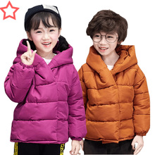 цена на Solid Color Down Jacket for Girls Winter Jacket for Girls Fashion Hooded Baby Boy Clothes Loose Warm Kids Winter Jacket Boys