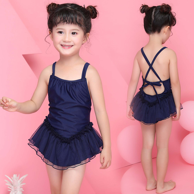 KID'S Swimwear GIRL'S One-piece Swimming Suit Princess Veil Dancing Dress Baby Swimwear Children Hot Springs With Swim Cap