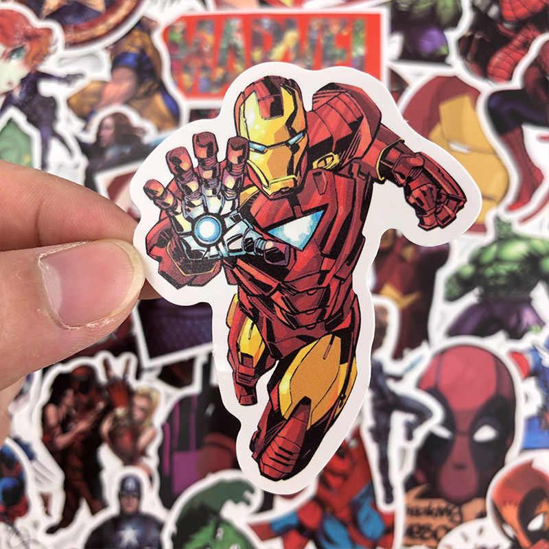 50Pcs Marvel Avengers Kartun Stiker Tahan Air untuk Laptop Moto Skateboard Tas Gitar Furnitur Stiker