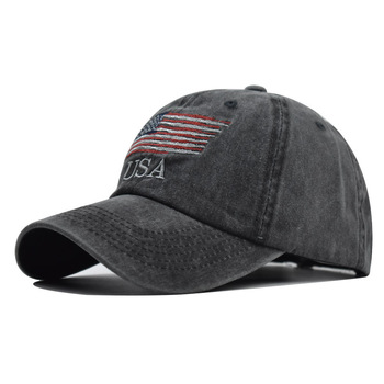 The New American Flag Embroidered Baseball Cap Washed Youth Cap Men and Women Outdoor Sunshade Cap Comfortable and Breathable korean version of the children s digital caps men and women baby stripes soft along the sunshade hat baseball cap