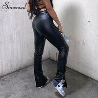 Simenual-pantalones pitillo de piel sintética para mujer, ajustados con abertura lateral, de cintura alta, ajustados, color negro, moda Otoño 2020