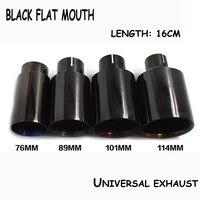 1 pcs titanium nero formato differente di saldatura universale 304 in acciaio inox tubo di scarico punta del silenziatore bocca piatta per universale