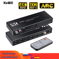 Conmutador HDMI 4K 60Hz interruptor 4 en 2 HD-MI divisor/Switcher Audio Extractor con arco IR Control remoto para Xbox TV HDTV PS4