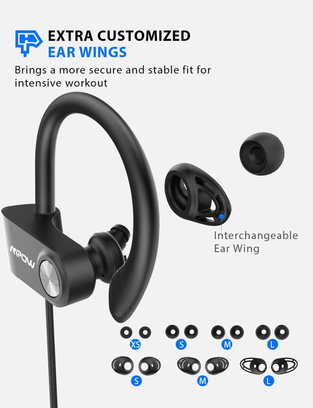 Mpow D9 Bluetooth 5.0 Earphone Aptx Wireless Sport Headphone With IPX7 Waterproof Noise Cancelling Mic 18H Playtime For Running (6)
