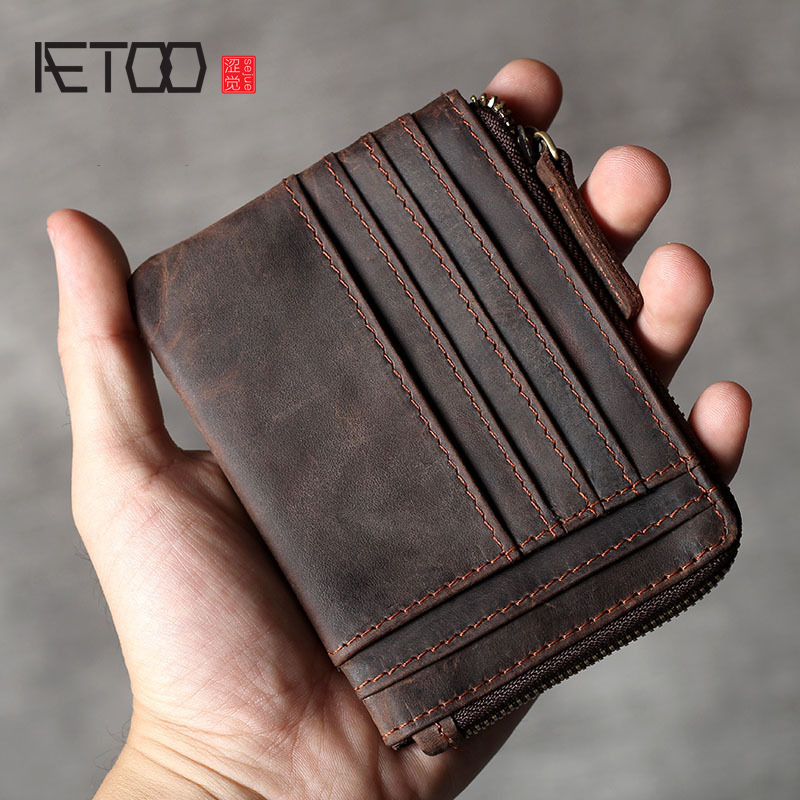 AETOO New Multi-card Retro Head Cowhide Card Pack Large Capacity Wallet Leather Driver's License Pack