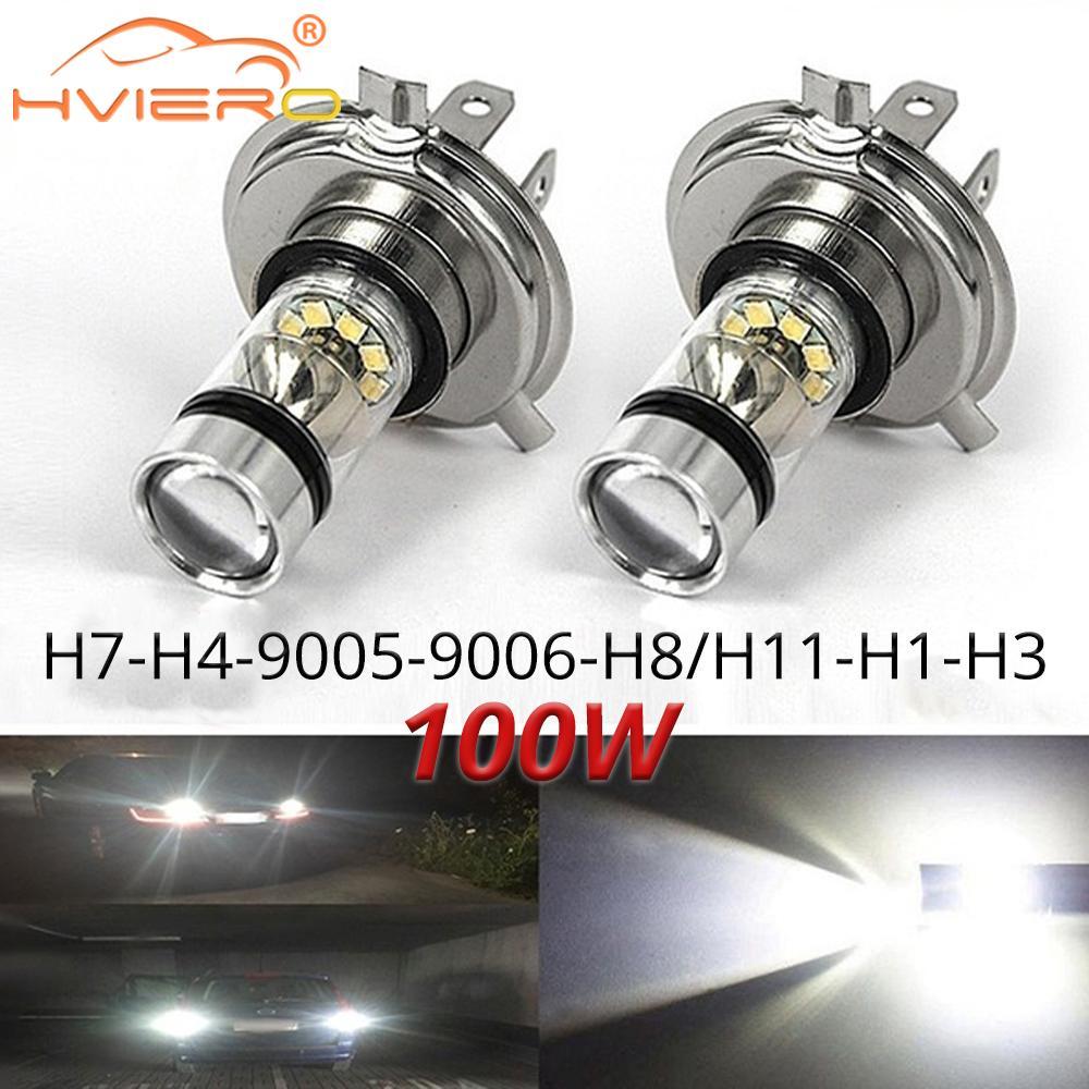 1 шт. противотуманный светильник 100 Вт светодиодный автомобильный H4 H7 8000K головной светильник, белый светильник, супер яркая противотуманная...