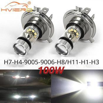 цена на 1Pcs Fog Light 100W Led Car H4 H7 8000K Headlight White Light Super Bright Fog Lamp Bulb Plug and Play Fog Bulb Direct Replaceme