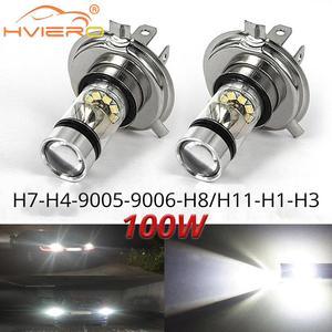 1X Fog Light 100W Led Car H4 H7 9005 9006 H1 H8 8000K Headlight White Light Fog Lamp Auto Plug Play Fog Bulb Direct Day Light