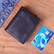 AETOO кожаный бумажник для мужчин короткий параграф сечение молния Молодежная Япония и Южная Корея; первый слой из кожи с мягкой кожаной стены