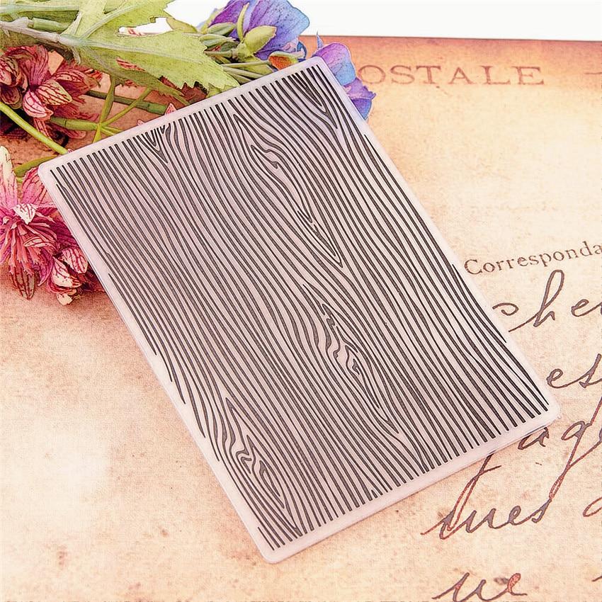 10.5x14.8 Wood Grain Embossing Folders Plastic Bump Scrapbooking DIY Template Fondant Indentation Cake Photo Album Card Make