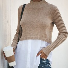 Autumn Winter Fashion Patchwork Women Sweater Female Slim Round Collar Bottom Button Knit Sweater Casual Long Sleeve Pullovers navy round collar dropped shoulder knit sweater
