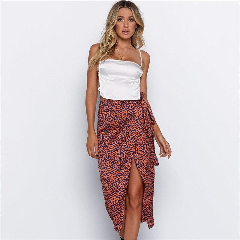 Leopard Midi Skirt Women High Waist Evening Party Club Split Skirt Elegant Ladies Dames Kleding Classic Streetwear