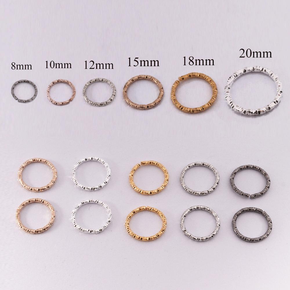 50-100pcs 8-20mm Gold Round Jump Rings Twisted Open Split Rings Jump Rings Connector For Jewelry Makings Findings Supplies DIY