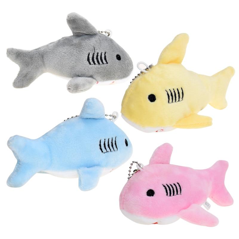 1pcs Kawaii 12CM Key Chain Gift Shark Plush Stuffed Toy Doll Kid's Small Mini Plush Toys Cute Plush 4 Colors