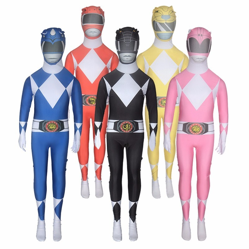 Power Ranger Costumes for Adults Red Spandex Bodysuit Skin Suit Fancy Dress